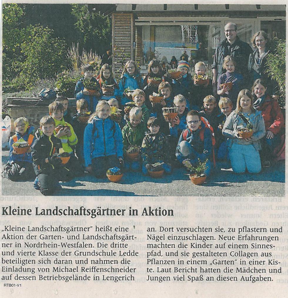 Kleine Landschaftsgärtner Zeitungsbericht